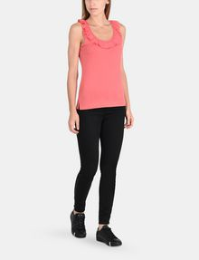 ARMANI EXCHANGE RUFFLE TRIM RACERBACK TANK S/L Knit Top Woman a