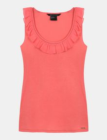 ARMANI EXCHANGE RUFFLE TRIM RACERBACK TANK S/L Knit Top Woman b