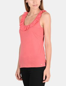 ARMANI EXCHANGE RUFFLE TRIM RACERBACK TANK S/L Knit Top Woman d