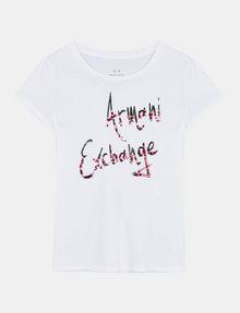ARMANI EXCHANGE T-SHIRT MIT SCHRIFTZUG AUS MEHRFARBIGEN PAILLETTEN Logo-T-Shirt Damen b