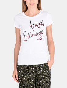 ARMANI EXCHANGE T-SHIRT MIT SCHRIFTZUG AUS MEHRFARBIGEN PAILLETTEN Logo-T-Shirt Damen f