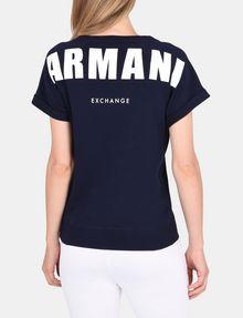 ARMANI EXCHANGE ROLLED SLEEVE BACK LOGO TOP Fleece Top Woman r