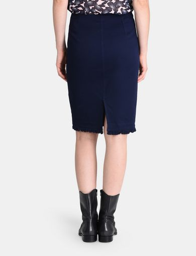 FRAYED EDGE ZIP-FRONT PENCIL SKIRT