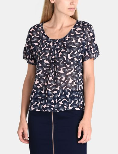 SHEER FLORAL PLEATED TEE