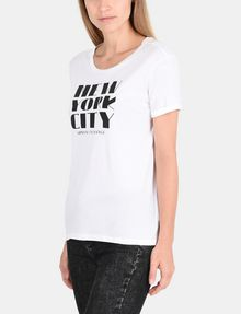 ARMANI EXCHANGE ROLLED SLEEVE DECO CITY TEE Logo T-shirt Woman d