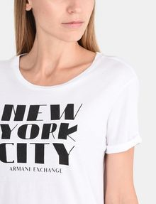 ARMANI EXCHANGE ROLLED SLEEVE DECO CITY TEE Logo T-shirt Woman e