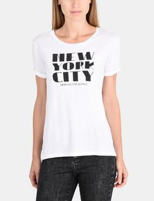ARMANI EXCHANGE ROLLED SLEEVE DECO CITY TEE Logo T-shirt Woman f