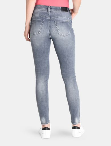 ZIP POCKET WASHED GREY SUPER SKINNY JEANS