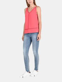 ARMANI EXCHANGE EYELET DETAIL V-NECK TANK S/L Woven Top Woman a
