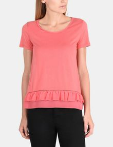 ARMANI EXCHANGE RUFFLE DETAIL TEE S/S Knit Top Woman f