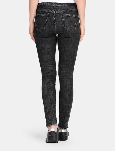 CROPPED RAW HEM ACID WASH SUPER SKINNY JEANS