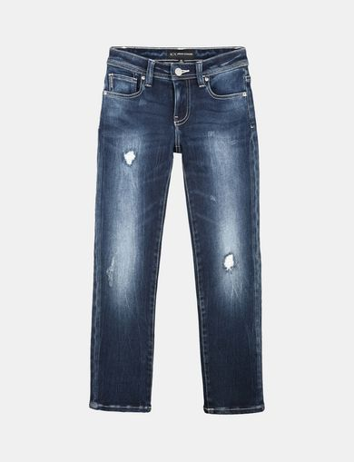 BOYS MEDIUM-WASH RIP AND REPAIR STRAIGHT FIT JEANS