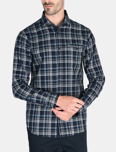 TWILL PLAID WELT-POCKET SHIRT