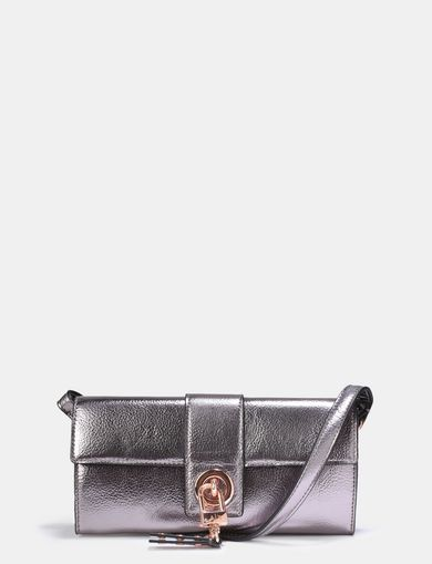 PADLOCK DETAIL METALLIC EVENING BAG