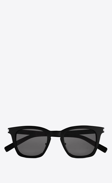 SAINT LAURENT CLASSIC E CLASSIC 138/F Slim Sunglasses in Shiny Black Acetate with Smoke Lenses  a_V4
