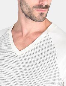 ARMANI EXCHANGE ALLOVER A|X PANELED RAGLAN V-NECK T-SHIRT S/S Knit Top Man e
