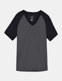 ARMANI EXCHANGE ALLOVER A|X PANELED RAGLAN V-NECK T-SHIRT S/S Knit Top Man b