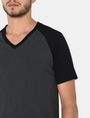 ARMANI EXCHANGE ALLOVER A|X PANELED RAGLAN V-NECK T-SHIRT S/S Knit Top Man e