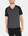 ARMANI EXCHANGE ALLOVER A|X PANELED RAGLAN V-NECK T-SHIRT S/S Knit Top Man f