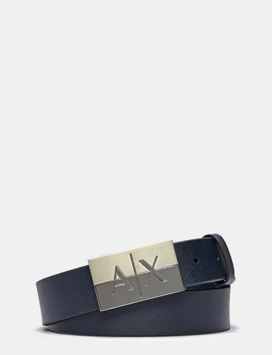 BICOLOR PLAQUE SAFFIANO LEATHER BELT