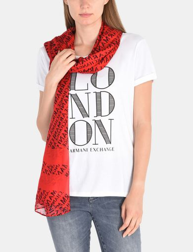 STRIPED LOGO PRINT RECTANGULAR SCARF