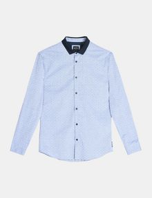 ARMANI EXCHANGE CONTRAST COLLAR OXFORD DOT SHIRT Long sleeve shirt Man b
