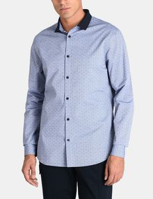 ARMANI EXCHANGE CONTRAST COLLAR OXFORD DOT SHIRT Long sleeve shirt Man f