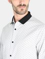 ARMANI EXCHANGE CONTRAST COLLAR OXFORD DOT SHIRT Long sleeve shirt Man e