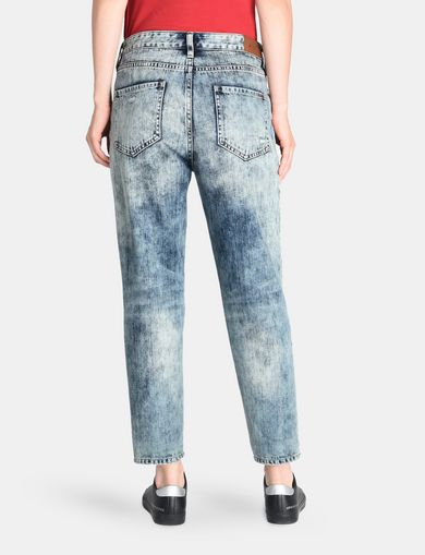 CORRODED INDIGO-WASH BOYFRIEND JEANS