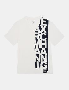 ARMANI EXCHANGE VERTICAL SIDE PRINT V-NECK T-SHIRT Logo T-shirt U b
