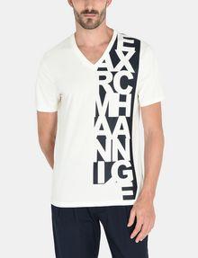 ARMANI EXCHANGE VERTICAL SIDE PRINT V-NECK T-SHIRT Logo T-shirt U f