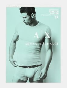 ARMANI EXCHANGE 2 PACK LOGO CREWNECK T-SHIRT Undershirt Man a