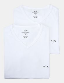 ARMANI EXCHANGE 2 PACK LOGO V-NECK T-SHIRT Undershirt Man f