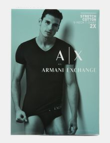 ARMANI EXCHANGE 2 PACK LOGO V-NECK T-SHIRT Undershirt Man a
