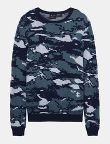 ARMANI EXCHANGE CAMO JACQUARD CREWNECK SWEATER Pullover Man b