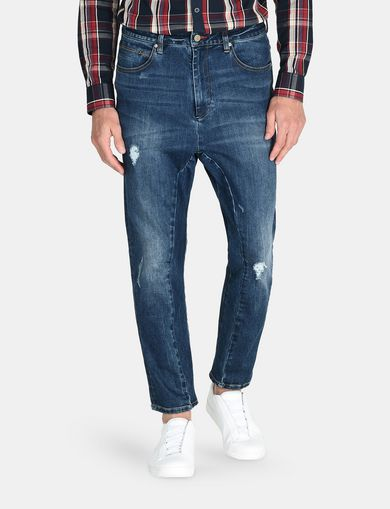 DROP-CROTCH DISTRESSED STRAIGHT FIT JEANS