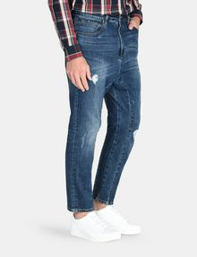 ARMANI EXCHANGE DROP-CROTCH DISTRESSED STRAIGHT FIT JEANS STRAIGHT FIT JEANS Man d