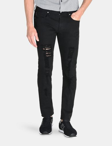 SLIM FIT OVERDYED SHREDDED JEANS