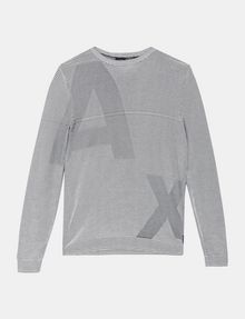 ARMANI EXCHANGE FEEDER STRIPE OPTICAL CREWNECK SWEATER Pullover Man b