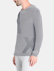 ARMANI EXCHANGE FEEDER STRIPE OPTICAL CREWNECK SWEATER Pullover Man d