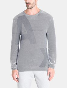 ARMANI EXCHANGE FEEDER STRIPE OPTICAL CREWNECK SWEATER Pullover Man f