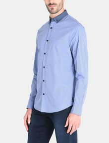ARMANI EXCHANGE CONTRAST CHAMBRAY BUTTON-DOWN COLLAR SHIRT Long sleeve shirt Man d