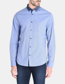 ARMANI EXCHANGE CONTRAST CHAMBRAY BUTTON-DOWN COLLAR SHIRT Long sleeve shirt Man f