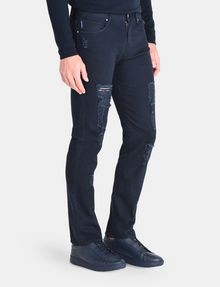 ARMANI EXCHANGE STRAIGHT FIT OVERDYED SHREDDED JEANS STRAIGHT JEANS U d