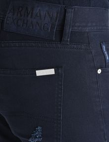 ARMANI EXCHANGE STRAIGHT FIT OVERDYED SHREDDED JEANS STRAIGHT JEANS U e