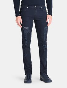 ARMANI EXCHANGE STRAIGHT FIT OVERDYED SHREDDED JEANS STRAIGHT JEANS U f