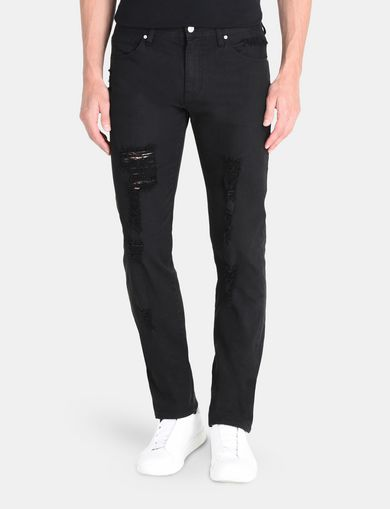 STRAIGHT FIT OVERDYED SHREDDED JEANS