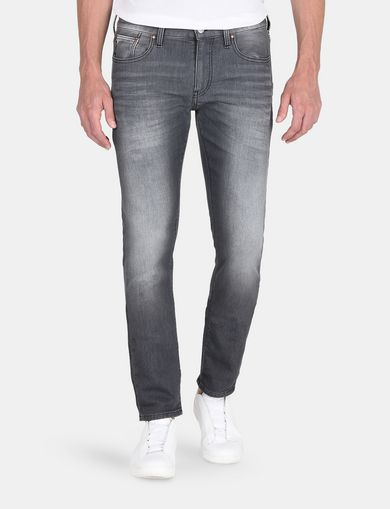 WHISKER DETAIL SLIM FIT GREY JEANS