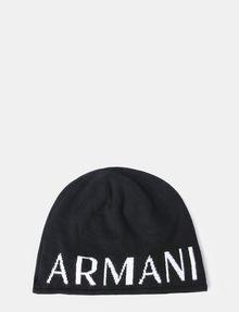 ARMANI EXCHANGE CASHMERE BLEND LOGO BEANIE Hat Man f