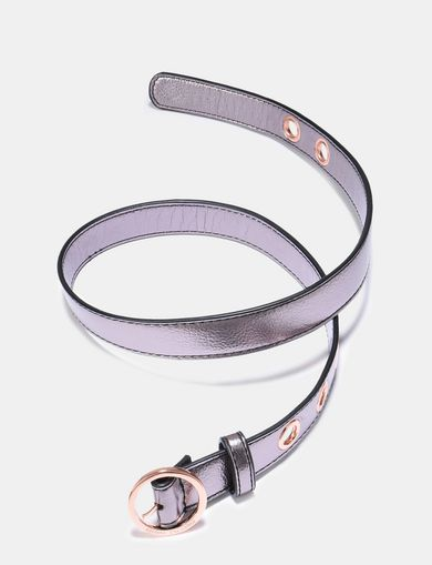 ROUND BUCKLE METALLIC SKINNY BELT